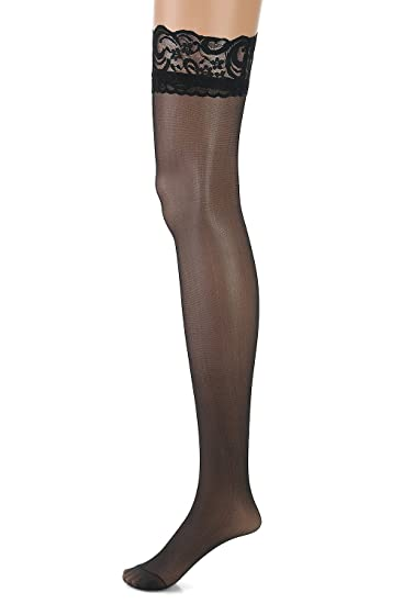 7437d5abd34c0 Image Unavailable. Image not available for. Color: FENTI Sheer Thigh High  Sexy Daily Stocking with Stay Up Silicone Lace Top