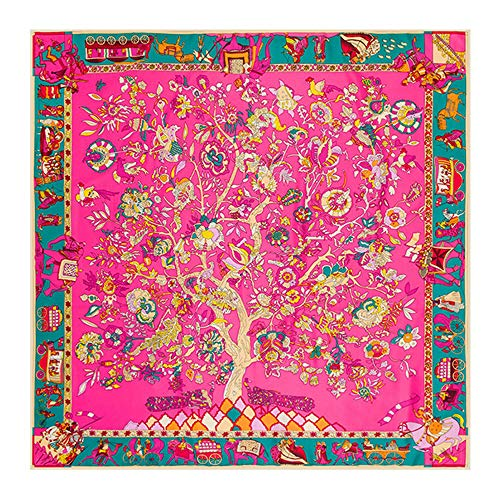 NUWEERIR Womens Extra Large Scarf 100% Twilled Silk Square Scarf Blanket Scarf Shawl Wraps 51x51 Inches