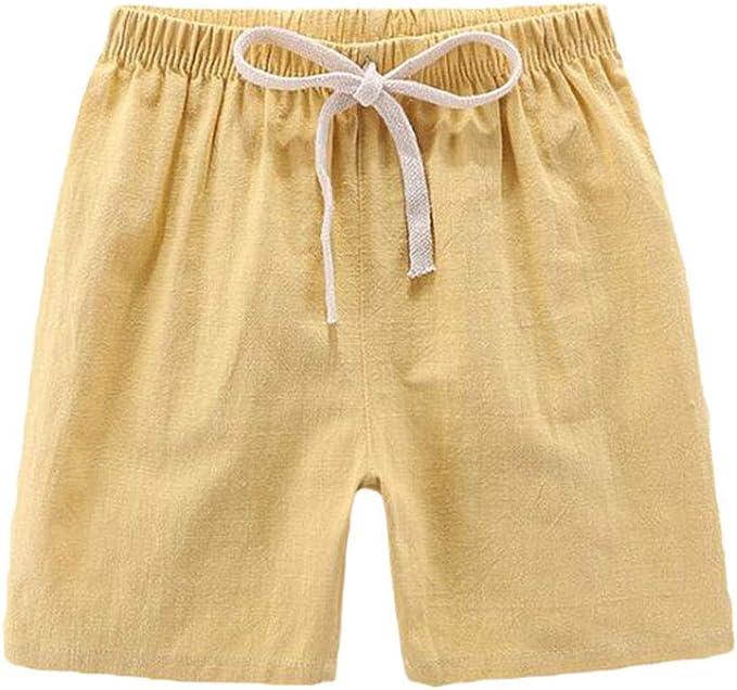 Niños Pantalones Cortos de Lino y Algodón Respirable Cómodo Shorts ...