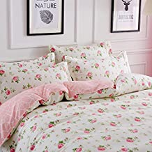 """Pink Red Roses Bedding Duvet Cover Sets 3-pieces Full/Queen Size(90""""x90"""") Microfiber ,Green Leaves Beige Prints Floral Patterns Design,Without Comforter (Full/Queen, 1Duvet Cover+2Pillowcases-05)"""