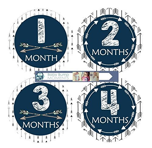 Monthly Baby Stickers - Baby Month Stickers - Milestone Month Stickers Tribal Arrow