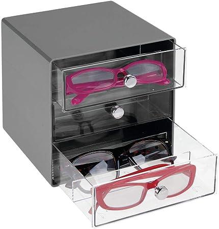mDesign Cajas para gafas de sol – Cajoneras de plástico con 3 compartimentos – Organizador de armarios para guardar todo tipo de gafas – transparente y gris oscuro: Amazon.es: Hogar