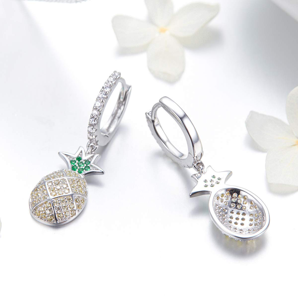 The Kiss Summer Pineapple Dazzling CZ Dangle 925 Sterling Silver Earrings