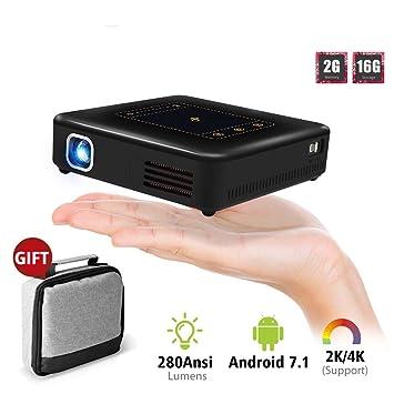ZAZCB Mini proyector Llevado de Android 7.1 de WiFi del proyector ...