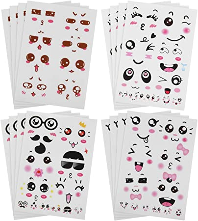 Bluecell Cute Cartoon Face Expression Stickers
