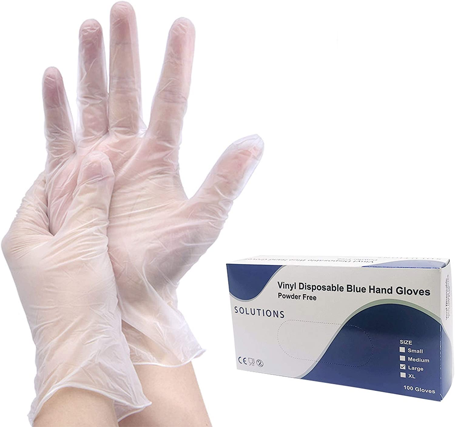 OKSANO Large Clear Vinyl Gloves, Case of 100,4 mil,Latex Free,Powder Free, Disposable, Non-Sterile Disposable Gloves-Ship from USA (L)