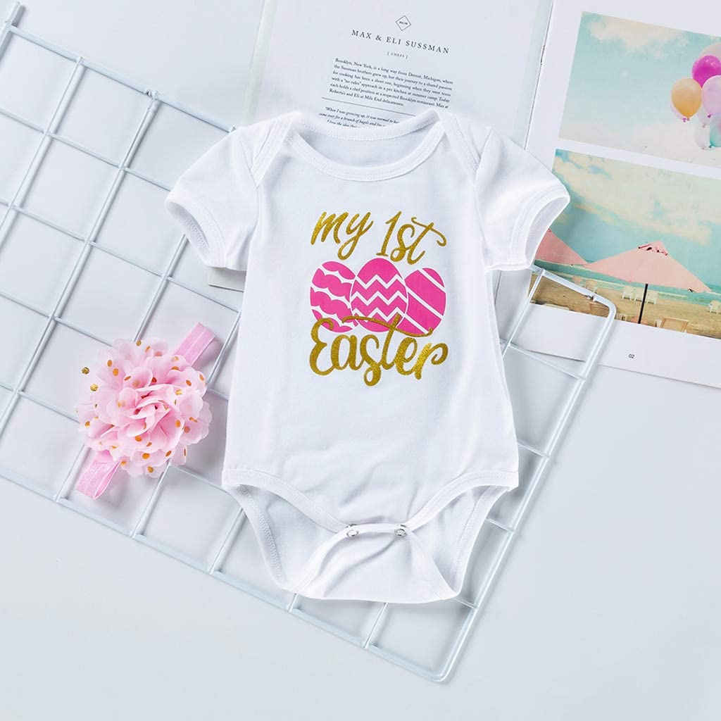 AMhomely Baby Clothing Sale Easter Round Collar Short Sleeve Letter Jacket Short Skirt Headwear UK Size Birthday Gift
