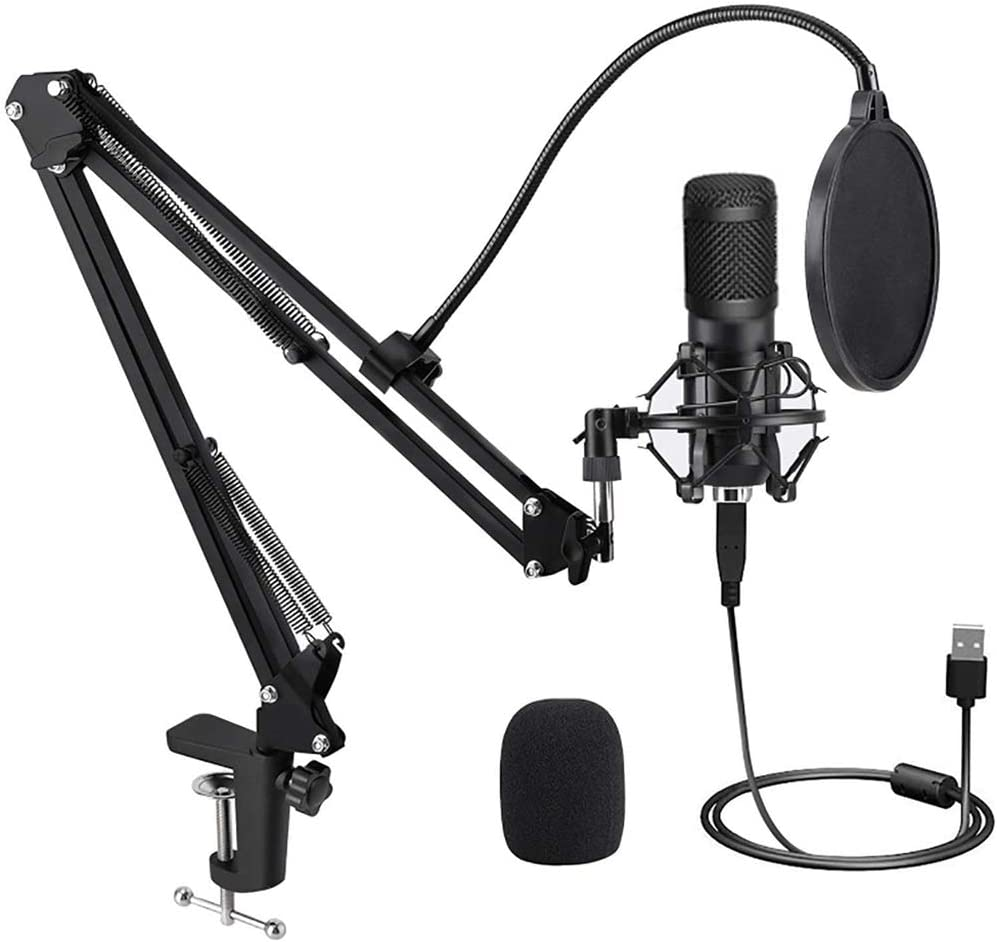 USB Microphone for Computer, Professional Condensor Microphone Kit Zero Latency 192KHZ/24Bit Plug & Play PC Streaming Mic, Studio Cardioid Mic for Recording Gaming Podcasting