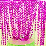 AZOWA 2 Pack Heart-Shap Metallic Foil Fringe Curtains for Tableware Window Door String Curtain Wedding Birthday Photo Booth Backdrop Party Tassel Screen Supplies (Pink, 6 X 6 ft)