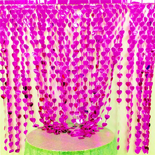 Pink Foil Heart - AZOWA 2 Pack Heart-Shap Metallic Foil Fringe Curtains for Tableware Window Door String Curtain Wedding Birthday Photo Booth Backdrop Party Tassel Screen Supplies (Pink, 6 X 6 ft)
