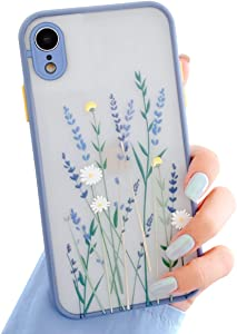 Ownest Compatible with iPhone XR Case for Clear Flowers Pattern Frosted PC Back 3D Floral Girls Woman and Soft TPU Bumper Protective Silicone Slim Shockproof Case for iPhone XR-Purple