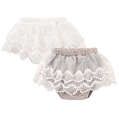 Baby Girl Bloomers Diaper Covers Toddler Lace Flower Skirts White and Gray 2 Pack