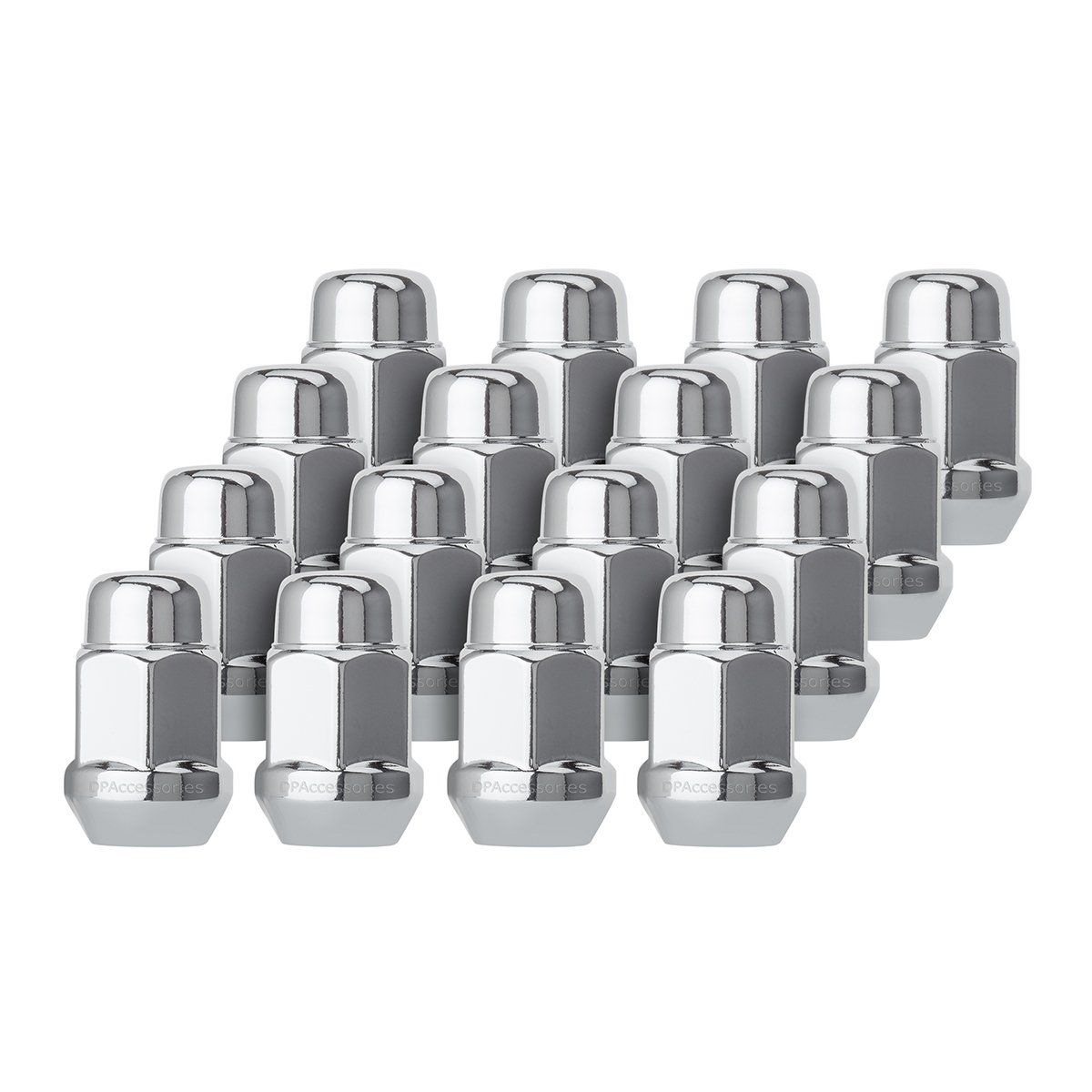 DPAccessories D3112-HT-2305/16 16 Chrome 1/2-20 Closed End Bulge Acorn Lug Nuts - Cone Seat - 3/4'' Hex Wheel Lug Nut