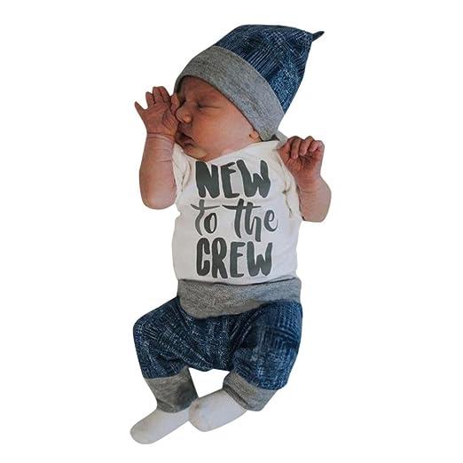 4a5554d2e49f FEITONG Newborn Kid Baby Boy Girl 3pcs Clothes Jumpsuit Romper Long Pants  Hat Outfit Set (