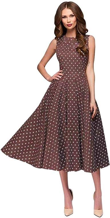 E-Scenery Dot Print Sleeveless Hebburn Zip Cute Floral Knee Length Dresses Womens Vintage Dress