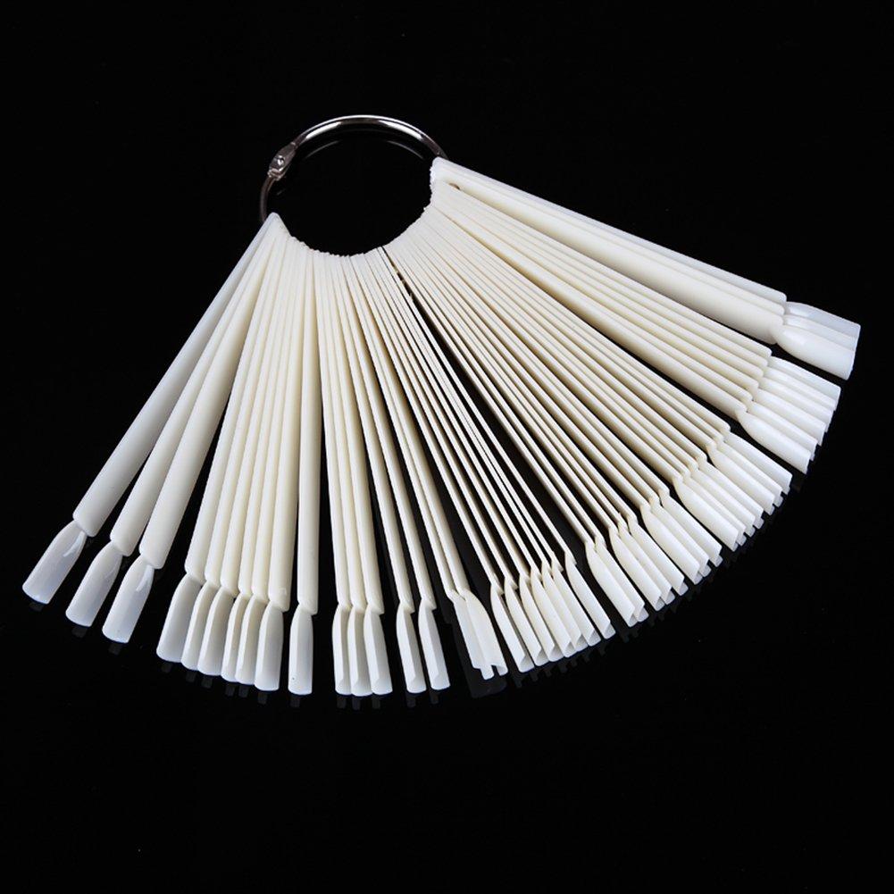 Leisial. 50 Palillos Transparente Muestra de Arte Uñas Falso Plástico Forma del Abanico DIY Uñas Decoración Kit de Herramientas Prácticas