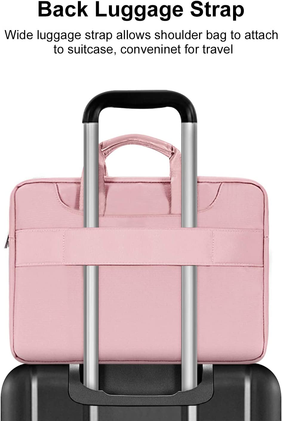 Pink Water Repellent Sleeve Case with Trolley Belt MacBook Pro MOSISO 360 Protective Laptop Shoulder Bag Compatible with 13-13.3 inch MacBook Air 13.5 Surface Laptop Surface Book