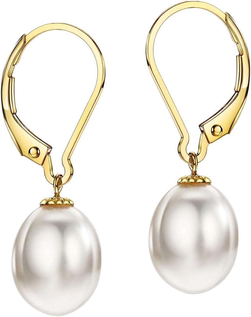 18K Gold Freshwater Cultured Pearl Drop Dangle Earrings Leverback 8-9mm Pearl Jewelry for Women