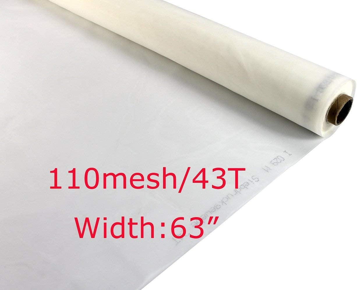 110//43T Monofilament Polyester Mesh Count Silk Screen Printing Fabric 3 Yards