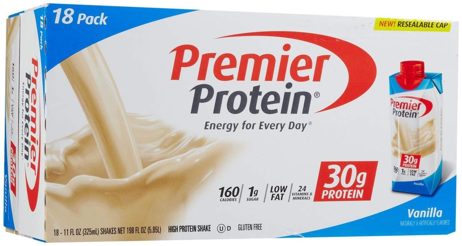 Premier Nutrition High Protein Shake, Vanilla, 11 Fl Oz (Pack of 18)