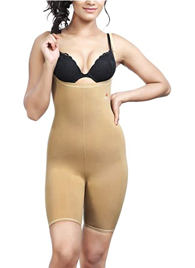 Adorna Women's Cotton Body Bracer Shapewear Women's Shaping Bodysuits at amazon