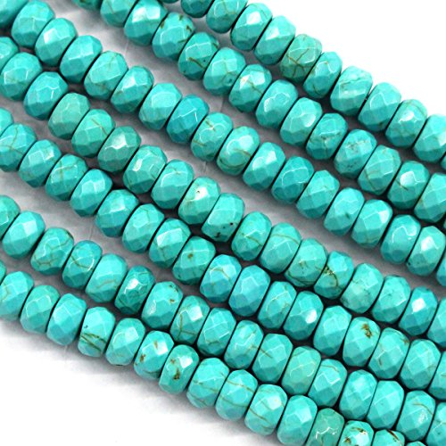 Natural Blue Turquoise Rondelle Gemstones Loose Beads Findings Jewerlry Making (faceted 5*8mm)