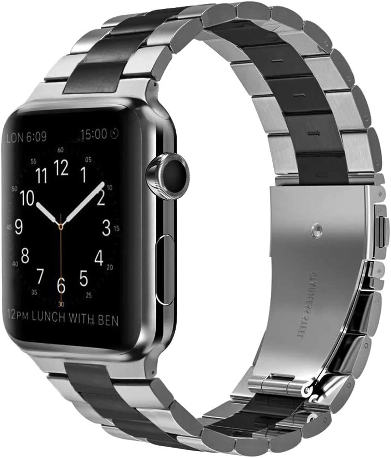 PUGO TOP Compatible with Apple Watch Band 42mm 44mm Series 6/5/4 Stainless Steel Iwatch iPhone Watch Link Band Series 3/2/1/SE for Men(42mm/44mm Silver + Black)