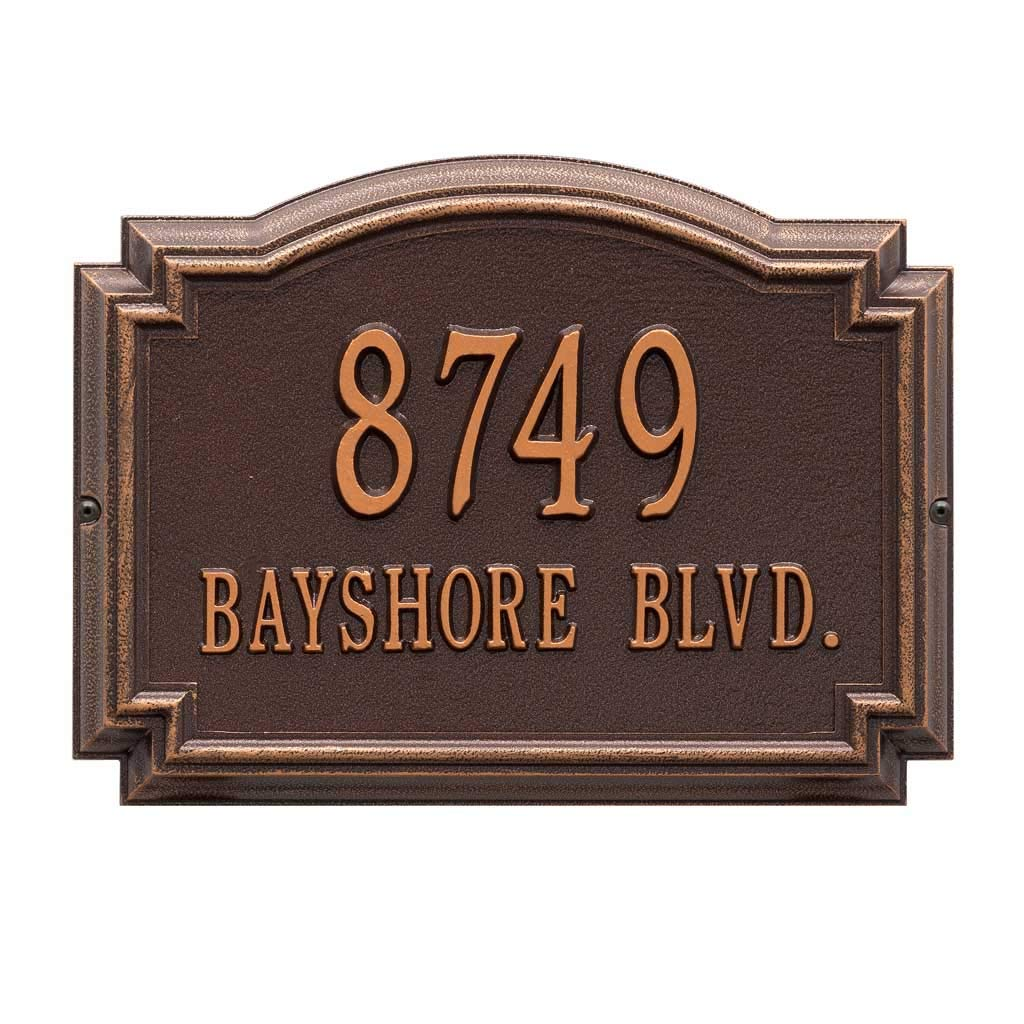 Comfort House Metal Address Plaque Personalized Cast Aluminum Display Your Address and Street Name. Custom House Number Sign. Wall Mount. Decorative Border 67422F