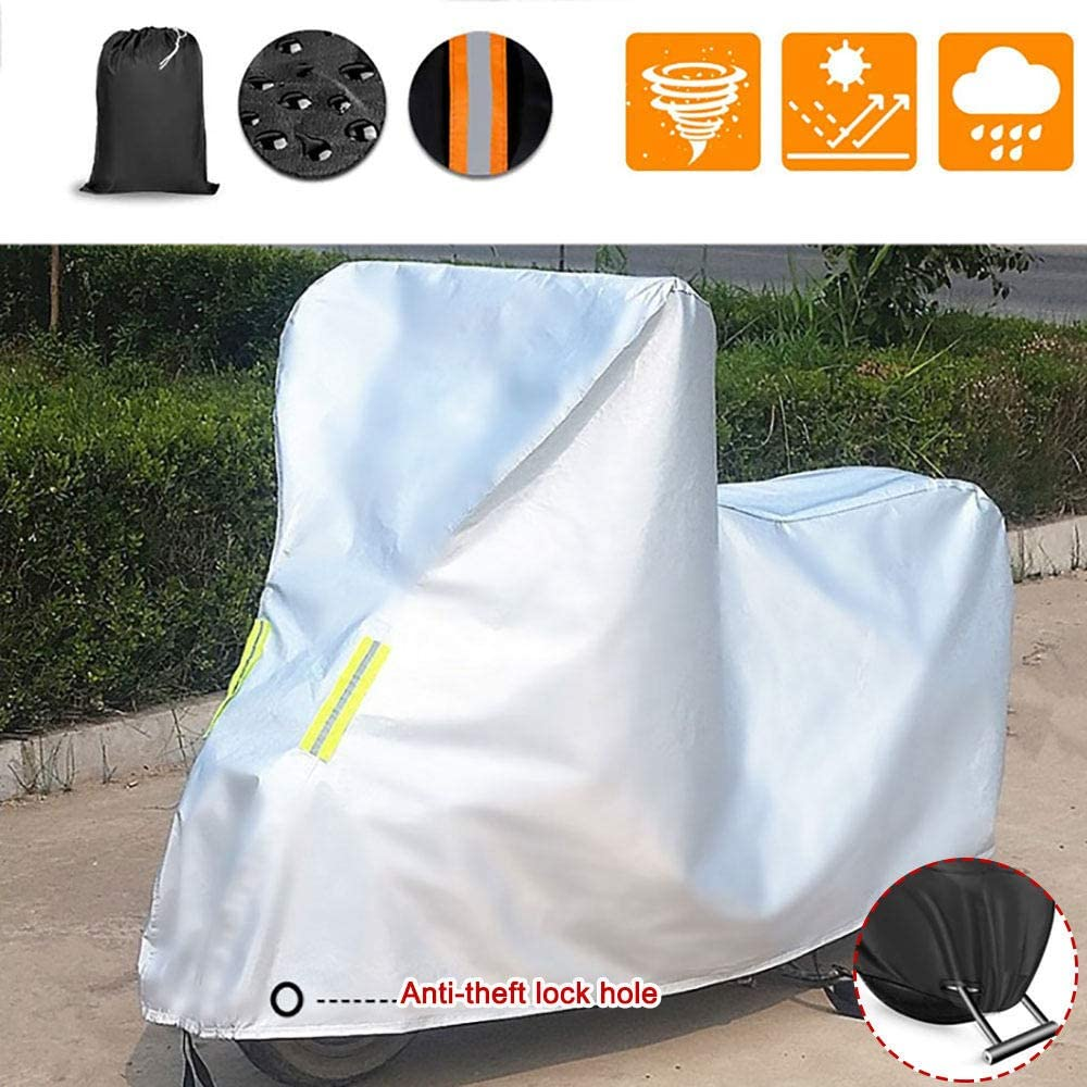 HEWXWX Heavy Duty Motorcycle Cover Anti-Snow Dust-Proof Durable Bicycle Cover with Lock Holes All Season Outdoor Protection,Grey-2XL Rainproof Electric Car Cover Sunscreen Scooter Cover