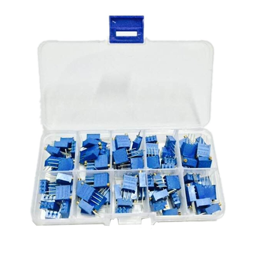 Ltvystore 100PCS 10Value 1/4W 100 Ohm to 500K Ohm 3296W Multiturn Trimmer Pot Potentiometer Assorted Kit Variable Resistor with Clear Plastci Box