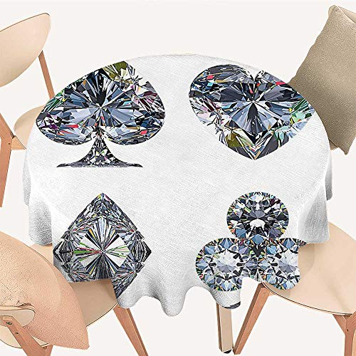 Modern Table Circle Cloth Playing Cards Diamonds Hearts Clubs Spades Casino Theme Lucky Charm Art Graphic Design Indoor or Outdoor Parties, 55 INCH Round