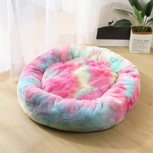 2DXuixsh Self-Warming Round Dog Bed for Small and Medium Dogs Cats, Luxurious Faux Fur Donut Cuddler, Pet Bed Sofa, Extra Plush Dog Pillow Couch,Gradient