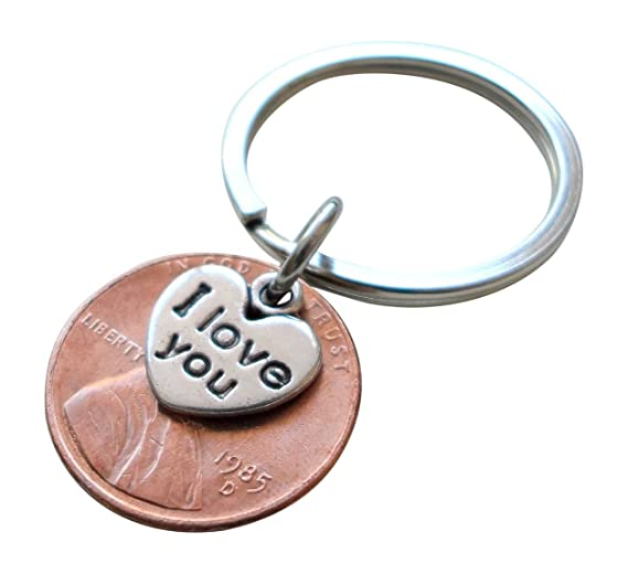 Amazon I Love You Heart Charm Layered Over 1985 Us One Cent
