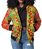 FEIYOUNG Women's Bodycon African Style Dashiki Floral Printed Zipper up Jacket (Small, Mulitcolor)