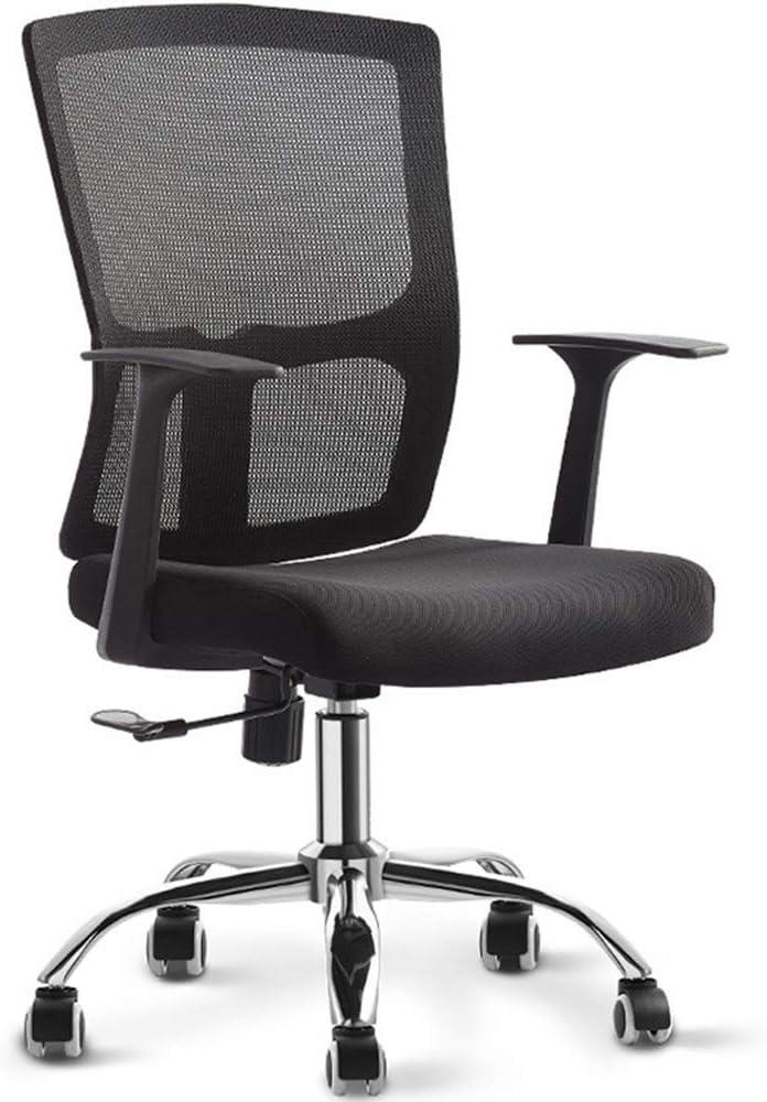 デスクチェア 調節可能なブラック・マネージャーチェア(ブラック)オフィススターミドル・バック通気性バックとシート 可動式