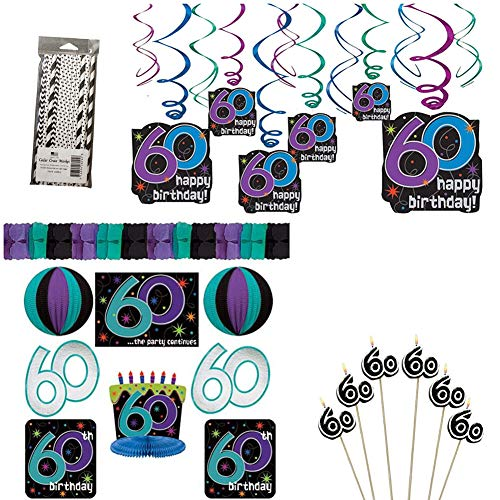 The Party Continues 60th Birthday Party Decorations Party Supplies Pack: Straws, Candles on a Stick, Hanging Swirls, and Decorating Kit]()