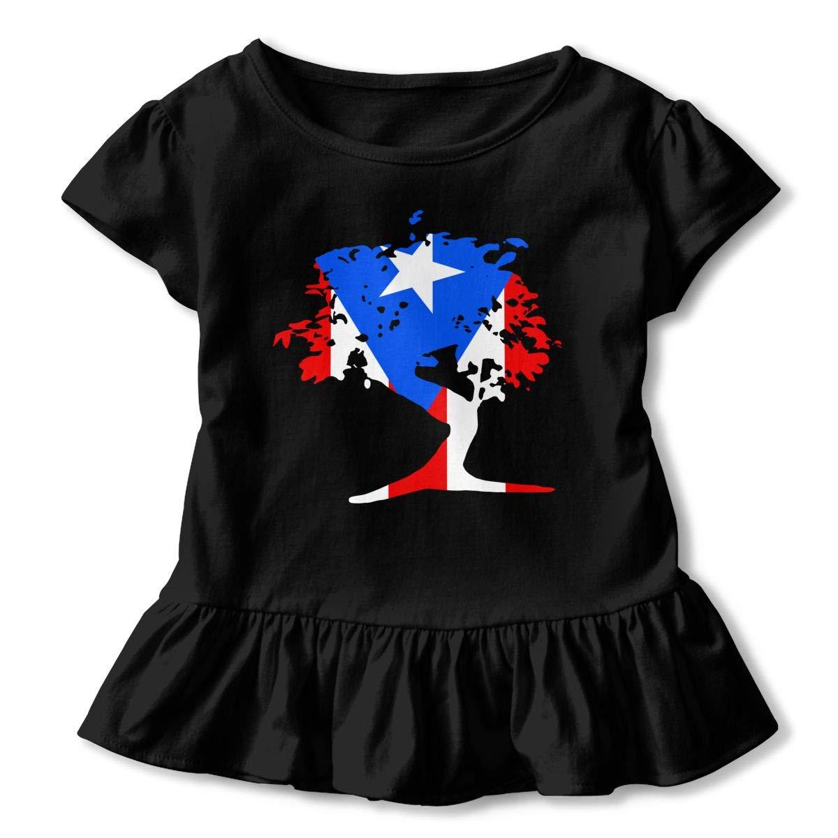 Japanese Bonsai Tree Puerto Rico Kids Girls Short Sleeve Ruffles Shirt T-Shirt for 2-6 Toddlers