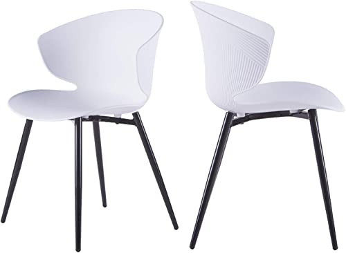 LIANFENG Modern Dining Chairs Armless Dining Side Chair Mid Century Modern Shell Lounge Plastic Kitchen