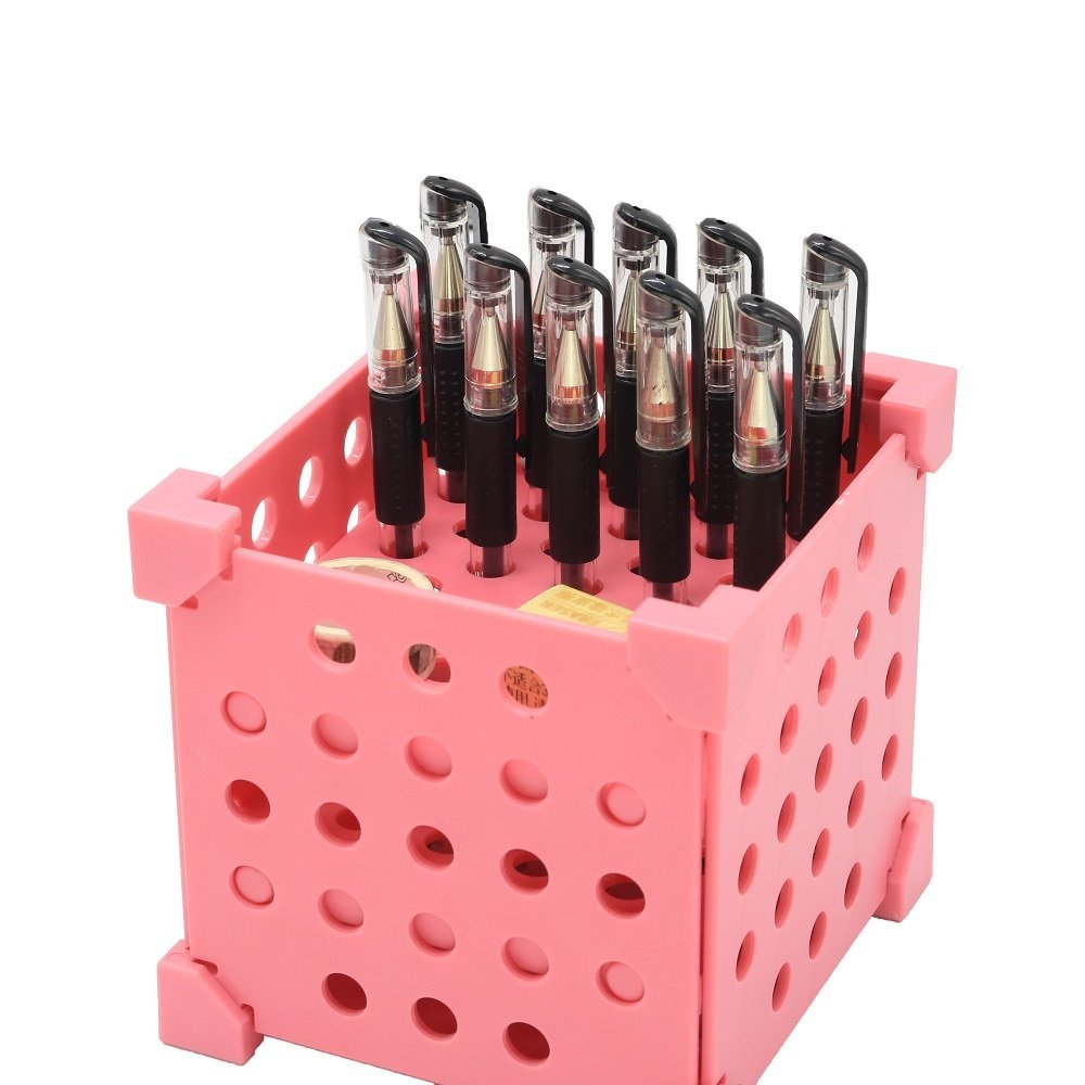 Desk Organizer Holder for Pens, Pencils, Highlighters, Markers, Scissors; More Than 3 Ways of Educational SELF-Assembling; 2 to 29 Slots Options by Changing Assembling;2 Colors (Pink)