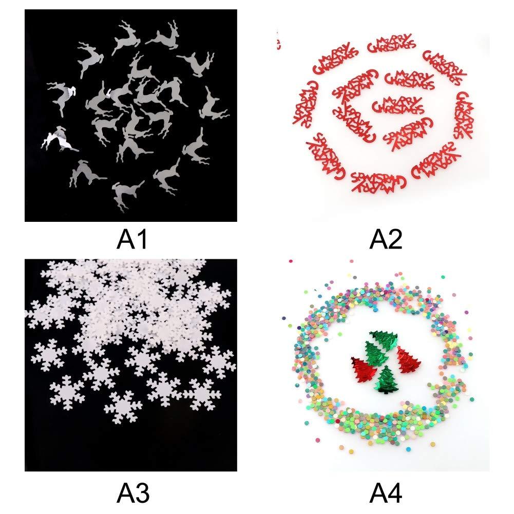 Onkessy 15g Christmas Confetti Snowflake Metallic Foil Stars Sequin for Christmas Wedding Birthday Winter Party Decoration Supplies