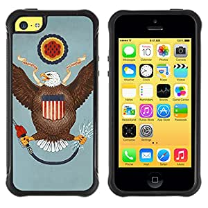 ZeTech Rugged Armor Protection Case Cover - Funny USA Flag - Apple Iphone 5C