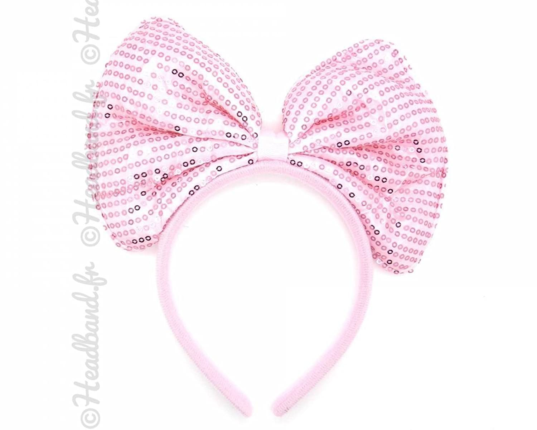 Serre-tête Minnie noeud sequins rose pâle