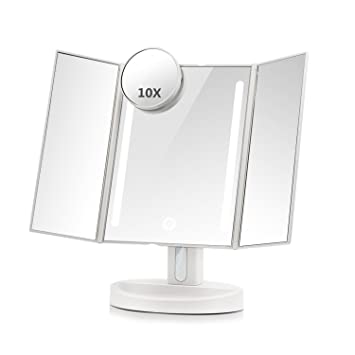 ASSIS Led Lighted Makeup Mirror With 10X Magnifying, Natural LED, Touch  Screen And Auto