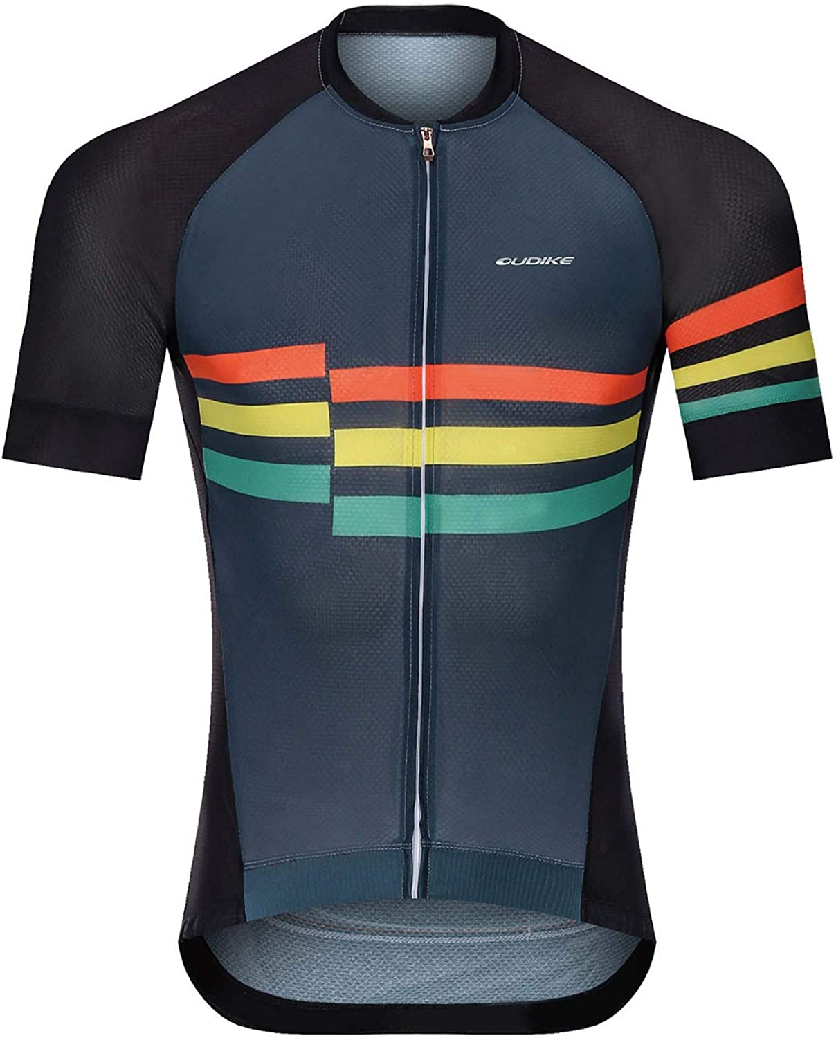 Men's Cycling Jersey Short Sleeve Breathable Quick Dry Biking Shirt Full Zip Cycling Jersey Tops with Pockets