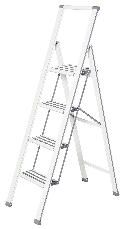 1-stufig 44 x 74 x 5,5 cm wei/ß Aluminium beschichtet Wenko 601014100 Alu-Design Klapptrittleiter Haushaltsleiter