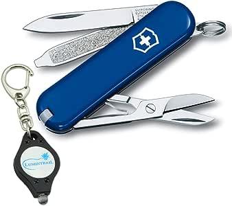 Victorinox Swiss Army Classic SD Folding Pocket Knife with Lumintrail Keychain Light
