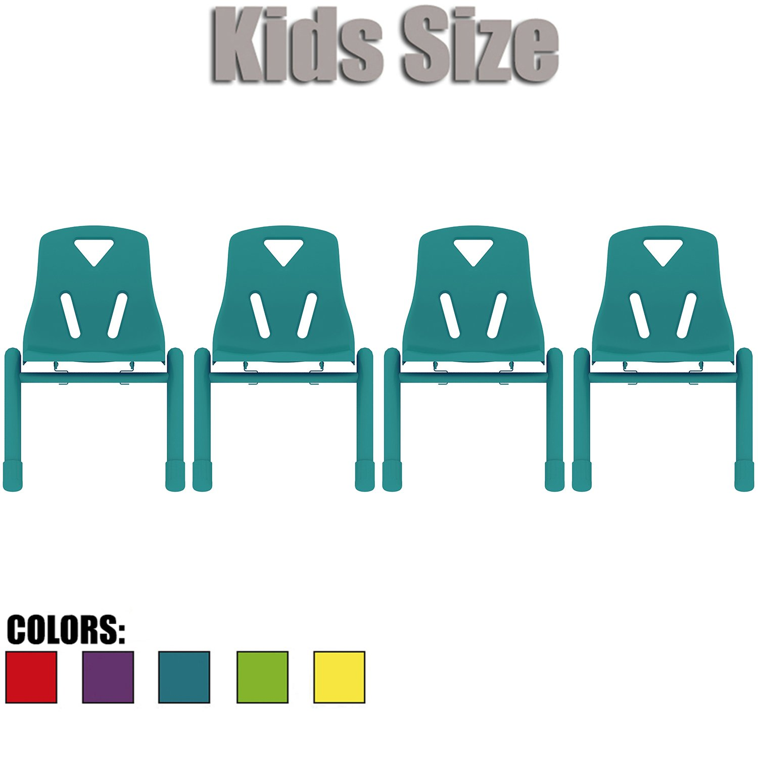 2xhome - Set of Four (4) - Teal - Kids Size Plastic Side Chair 12'' Seat Height Teal Childs Chair Childrens Room School Chairs No Arm Arms Armless Molded Plastic Seat with Coated Metal Legs Stackable