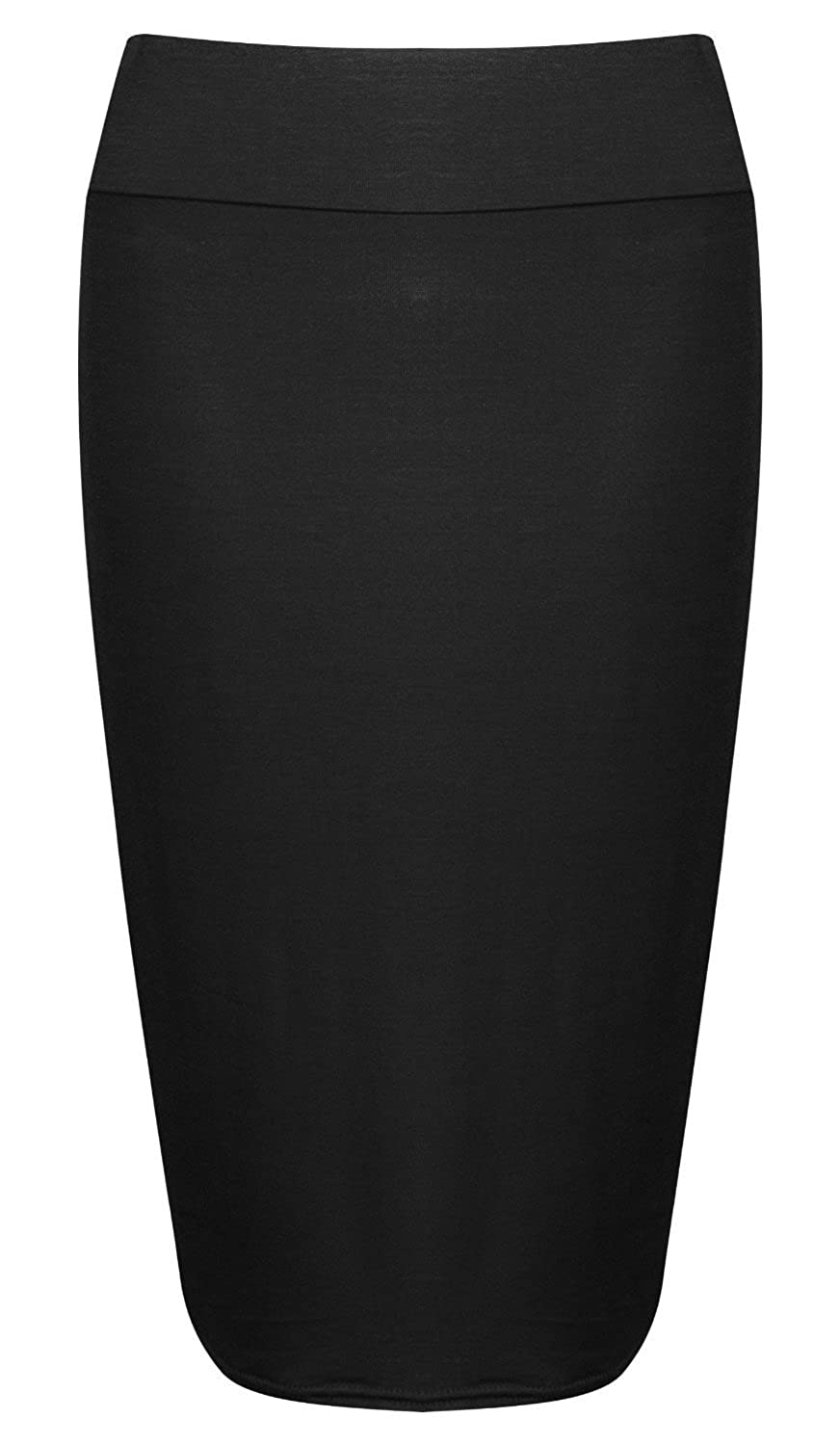 Forever Women's Plus Size Plain High Waisted Stretchy Pencil Skirt ...