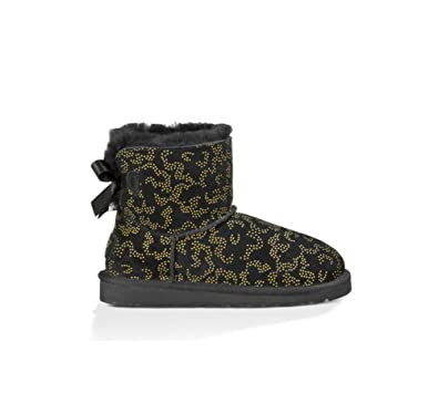 UGG Girls' Mini Bailey Bow Metallic Conifer Boot Little Kids,Black,US 3