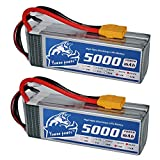 YoWoo 2 Packs 5000mAh 50C 6S 22.2V RC Lipo Battery XT90 Plug For RC Quadcopter Airplane Helicopter DJI ALIGN T-REX550/600 Airplane(6.1x1.89x1.82in,1.72lb)